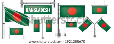 Vector set of the national flag of Bangladesh in various creative designs Stock photo © butenkow