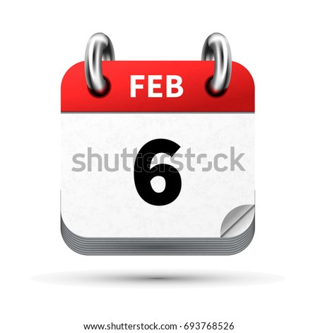 Bright realistic icon of calendar with 6 february date isolated on white Stock photo © evgeny89