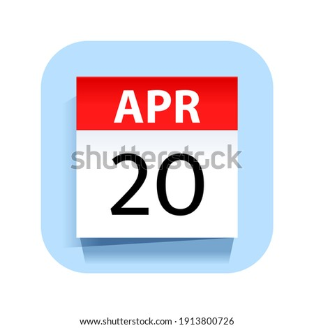 Simple black calendar icon with 20 april date isolated on white Stock photo © evgeny89