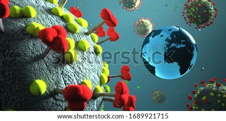 The real 3d model of the corona virus with a globe. 3d illustrat Stock photo © limbi007