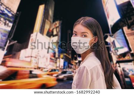 New York City coronavirus reizen verbieden asian vrouw Stockfoto © Maridav