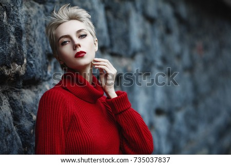 Beauty face close-up of young woman, blonde hair and chic make-up for skincare and haircare brand Stock photo © Anneleven