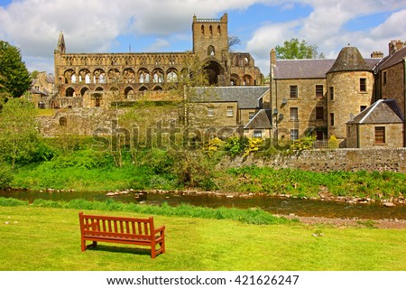 Jedburgh Abbey is a ruined 12th century Augustinian abbey, situated in Jedburgh, in the Borders of S Stock photo © Hofmeester