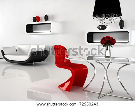 fehér · szék · lámpa · piros · belsőépítészet · jelenet - stock fotó © victoria_andreas