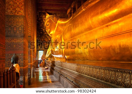 Monument of Reclining Buddha in Wat Pho temple. Bangkok, Thailan Stock photo © moses