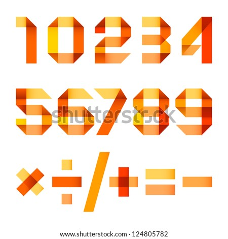 spectral letters folded of paper orange ribbon   arabic numerals stock photo © ecelop
