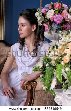 ストックフォト: エレガンス · 肖像 · 小さな · ブルネット · 花