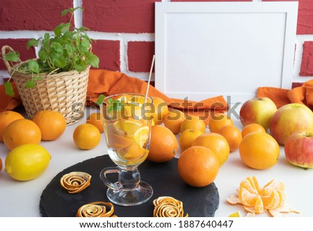 oranje · achter · vol · glas · sinaasappelsap · witte - stockfoto © wavebreak_media