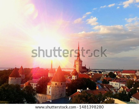 Panoramic View on City Walls and Towers of Old Tallinn, Estonia Stock photo © anshar