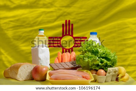 Complete Waved Flag Of American State Of New Mexico For Backgrou Stockfoto © vepar5