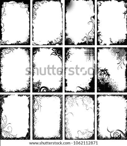 Floreale grunge frame design elementi Foto d'archivio © olgaaltunina