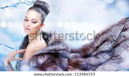 mooie · vrouw · lang · bruin · haar · luxe · pels - stockfoto © victoria_andreas
