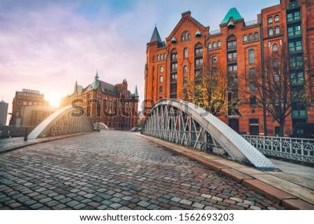Channel in the Speicherstadt Stock photo © elxeneize