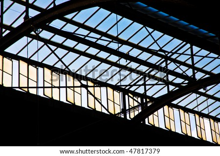 trainstation in Wiesbaden, glass of roof gives a beautiful harmo Stock photo © meinzahn