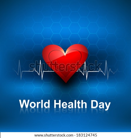 World health day concept with heart beats blue colorful medical  Stock photo © bharat