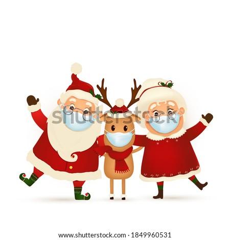 Mrs. Santa with Christmas decorations isolated on white backgrou Stock photo © Nejron