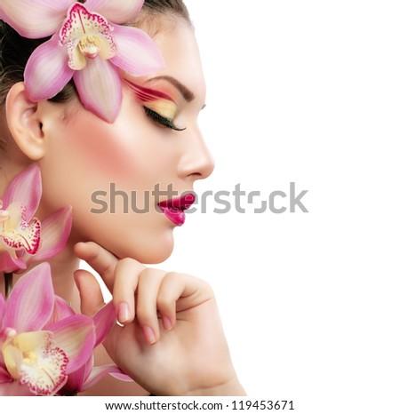 bella · orchidea · fiore · isolato · bianco - foto d'archivio © Nejron