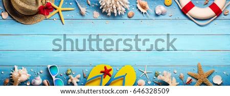 Zomer vakantie zand houten exemplaar ruimte Stockfoto © marimorena