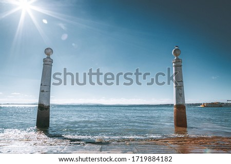 Famous Columns Wharf (Cais das Colunas) at Commerce Square, Lisb Stock photo © CaptureLight