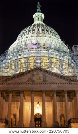 US Capitol North Side Construction Night Washington DC Reflectio Stock photo © billperry