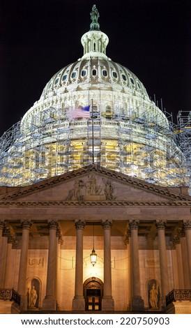 us capitol north side construction night washington dc reflectio stock photo © billperry