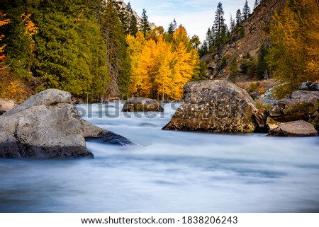 Fall Yellow Red Green Colors Reflection Wenatchee River Valley N Stock photo © billperry
