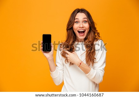 young woman showing COPY SPACE phone Stock photo © Giulio_Fornasar