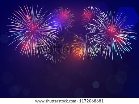 Colorido fogos de artifício preto céu fogo luz Foto stock © vapi