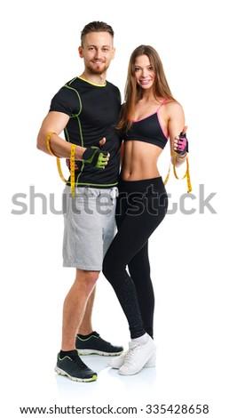 fiatal · gyönyörű · sportos · nő · férfi · izolált - stock fotó © vlad_star