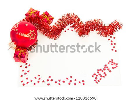 Merry Christmas, and Happy New Year! Card. ball toy. bow-knot ribbon Stock photo © rommeo79