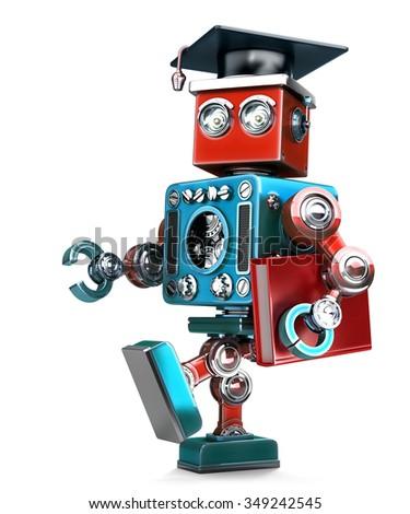 3D · diák · robot · könyv · izolált · vágási · körvonal - stock fotó © kirill_m