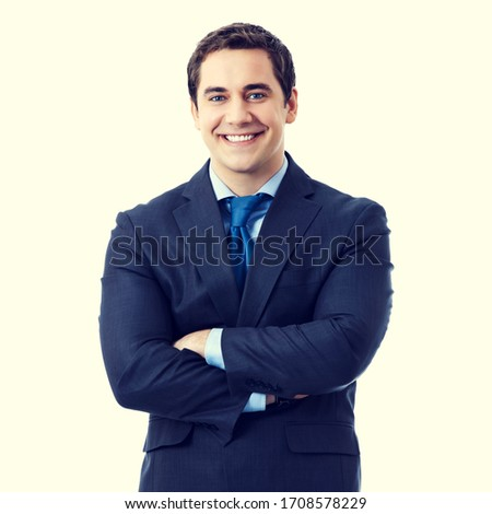 composite image of smiling businessman posing with arms crossed stock photo © wavebreak_media