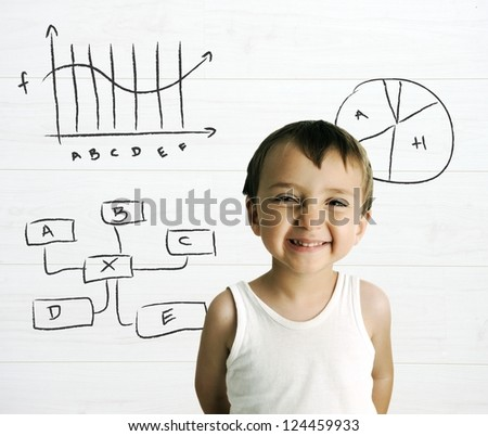 Portrait of an innocent kid  with graphs and formulas in background Stock photo © zurijeta