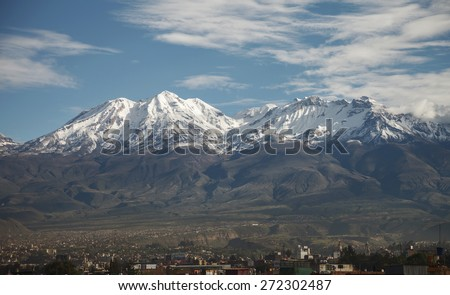 Arequipa, Peru with its iconic volcano Chachani in the backgroun Stock photo © meinzahn