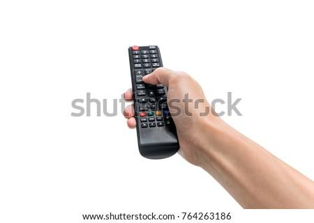 mano · control · remoto · azul · televisión · eléctrica - foto stock © ra2studio