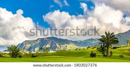удивительный · мнение · гольф · долины · закат · гольф - Сток-фото © capturelight