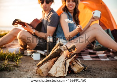 cropped image of couple in love frying marshmallow while camping stock photo © deandrobot
