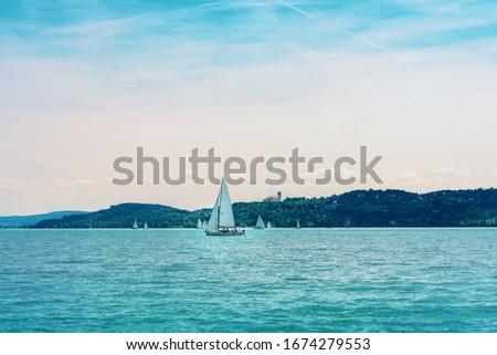 verão · Balaton · lago · pintura · pier - foto stock © digoarpi