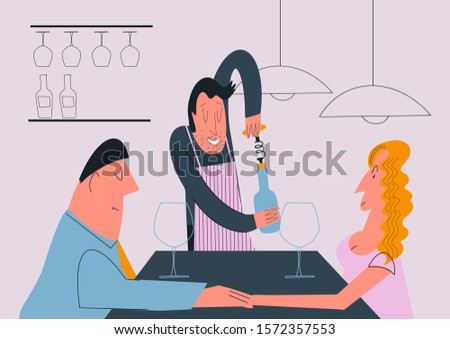 Two happy women having engagement party with bottle of champagne Stock photo © deandrobot