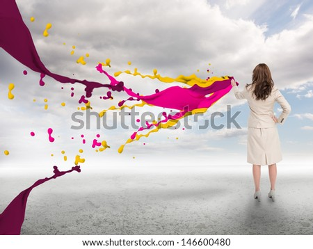 Business woman in digitally generated background touching 2017 Foto d'archivio © wavebreak_media