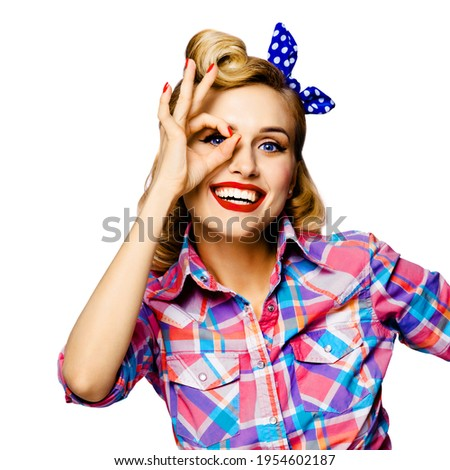 Stock photo: Composite image of woman looking up against white background