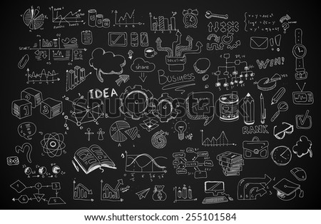 educational infograph brochure template with hand drawn sketches and a lot of mockups design element stock photo © davidarts