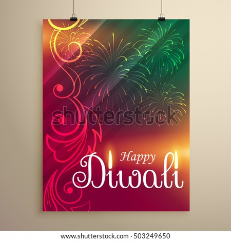 amazing diwali festival flyer template with fireworks and flying Stock photo © SArts