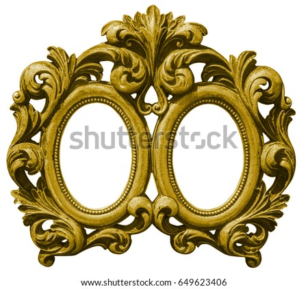 Old double gilded wooden Frame Isolated with Clipping Path on wh Stock photo © smuki