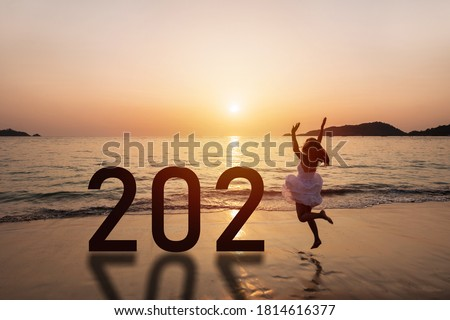 Woman at tropical beach looks at horizon for new travel route Stock photo © alphaspirit