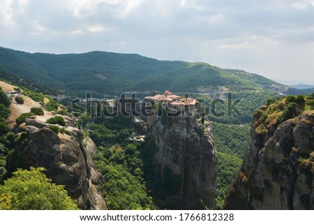 aerial photo of the rock formations and monasteries of meteora stock photo © vlad_star