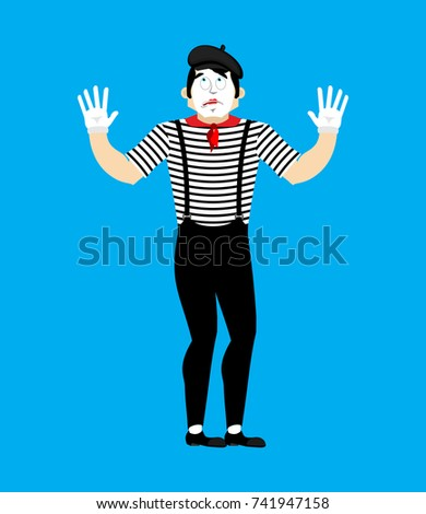 Bewildered Mime. mixed-up pantomime. at a loss mimic. Vector ill Stock photo © popaukropa