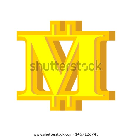 M letter bitcoin font. Cryptocurrency alphabet. Lettering virtua Stock photo © popaukropa
