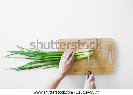 Taze organik maydanoz bıçak ahşap Stok fotoğraf © Virgin