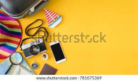 Overhead view of vacation travel concept with smartphone blacnk Stock photo © stevanovicigor
